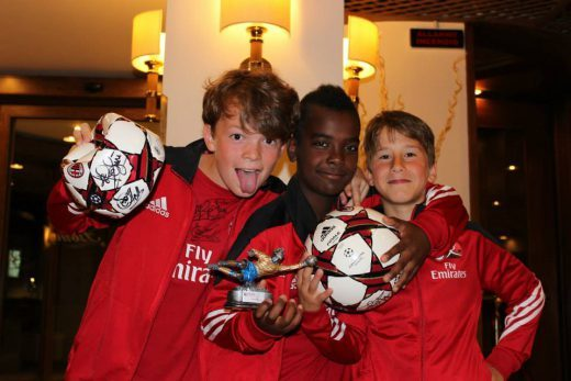 Three boys have won the cup at AC Milan Soccer Camp