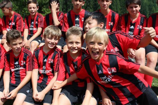 Children at AC Milan soccer summer camp