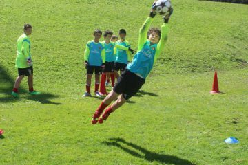 Goalkeeper soccer training at AC Milan Junior Camp