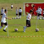 Soccer training boys at AC Milan Camp