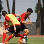 Soccer action at AC Milan Camp